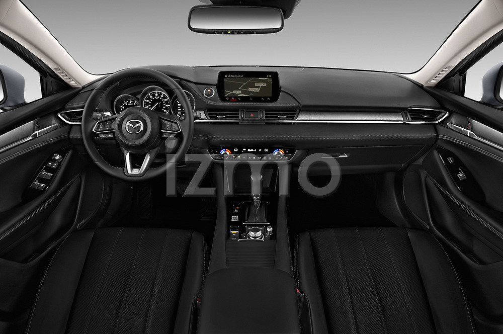 Stock photo of straight dashboard view of a 2019 Mazda Mazda6 Grand Touring Reserve 4 Door Sedan