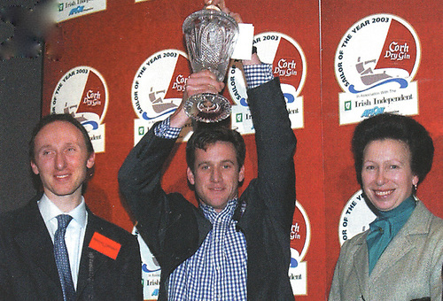 2003 Laser 2 World Champions Stephen Campion and Noel Butler with Anne, Princess Royal, at the 2003 Sailor of the Year  Awards ceremony