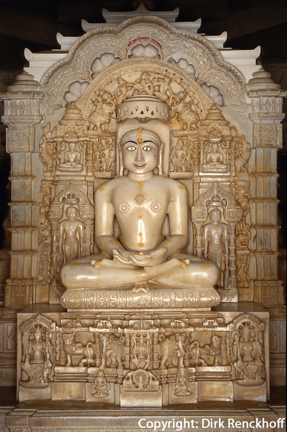 Indien, Ranakpur (Rajasthan, Chaumukha Tempel (Jain) 15. Jh, gewidmet Adinath, 1. Furtbereiter (Tirthankar)