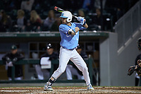 Brandon Riley (1) of the North Carolina Tar Heels at bat against the Charlotte 49ers at BB&T BallPark on March 27, 2018 in Charlotte, North Carolina. The Tar Heels defeated the 49ers 14-2. (Brian Westerholt/Four Seam Images)