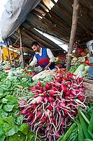 Fresh vegetables for sale at outdoor market, Hazratbal area, Srinagar, Kashmir, India.