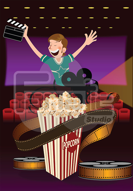 Man holding a film slate in a movie theater with popcorn and film projector