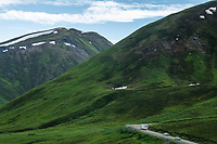 Summer traffic over Hatcher Pass, north of Anchorage.