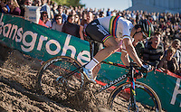 World Champion Wout Van Aert (BEL/Crelan-Vastgoedservice) speeding into 'The Pit'<br /> <br /> CX Superprestige Zonhoven 2016