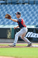 Jacob Washer (27) of West Stokes High School in King, North Carolina playing for the Cleveland Indians scout team during the East Coast Pro Showcase on August 1, 2014 at NBT Bank Stadium in Syracuse, New York.  (Mike Janes/Four Seam Images)