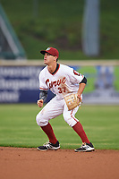 Altoona Curve second baseman Kevin Kramer (37) during a game against the New Hampshire Fisher Cats on May 11, 2017 at Peoples Natural Gas Field in Altoona, Pennsylvania.  Altoona defeated New Hampshire 4-3.  (Mike Janes/Four Seam Images)