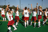 6 November 2007: Stanford Cardinal Jaimee Erickson, Nora Soza, Jess Zutz, Rachel Mozenter, Bailey Richardson, Heather Alcorn, Lisa Maffucci, Marlana Shile, Rachel Bush, and Annika Alexander-Ozinskas during Stanford's 1-0 win against the Lock Haven Lady Eagles in an NCAA play-in game to advance to the NCAA tournament at the Varsity Field Hockey Turf in Stanford, CA.