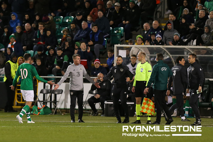 EVENT:<br /> UEFA European U21 Championship Qualifier Group 1 Republic of Ireland v Italy<br /> Thursday 10th October 2019,<br /> Tallaght Stadium, Dublin<br /> <br /> CAPTION:<br /> Troy Parrott of Republic of Ireland leaves the field after receiving a red card.<br /> <br /> Photo By: Michael P Ryan