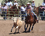 Jessica Nalder competes in the women's steer stopping event the Minden Ranch Rodeo on Sunday, July 24, 2011, in Gardnerville, Nev. .Photo by Cathleen Allison