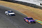 #11: Denny Hamlin, Joe Gibbs Racing, Toyota Camry FedEx Express and #42: Kyle Larson, Chip Ganassi Racing, Chevrolet Camaro DC Solar