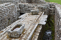 Northumberland,  England, UK.  Latrines, Housesteads Roman Fort (Vercovicium).