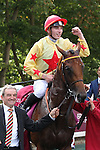 October 02, 2016, Chantilly, FRANCE - National Defense with Pierre-Charles Boudot up after winning the Qatar Prix Jean-Luc Lagardere (Grand Criterium) (Gr. I) at  Chantilly Race Course  [Copyright (c) Sandra Scherning/Eclipse Sportswire)