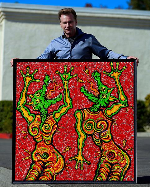 Nov. 14.2020. Vista CA. | Artist Jamie Scott Lytle, Dancing Dogz 4, Acrylic on Board, 48'X48'. 2020. Vista, CA. Part of Dancing Dogz Series. Photo and art by Jamie Scott Lytle. Copyright.