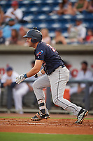 Jacksonville Jumbo Shrimp first baseman Eric Jagielo (25) grounds out during a game against the Pensacola Blue Wahoos on August 15, 2018 at Blue Wahoos Stadium in Pensacola, Florida.  Jacksonville defeated Pensacola 9-2.  (Mike Janes/Four Seam Images)