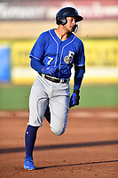 Biloxi Shuckers third baseman Jake Gatewood (7) runs to third base during a game against the Tennessee Smokies at  on August 10, 2019 in Kodak, Tennessee. The Shuckers defeated the Smokies 7-3. (Tony Farlow/Four Seam Images)