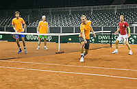 September 11, 2014, Netherlands, Amsterdam, Ziggo Dome, Davis Cup Netherlands-Croatia, practise, Dutch team playing volley game<br /> Photo: Tennisimages/Henk Koster