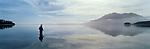 Fly fishing on Lake Moana. Westland Region. New Zealand.