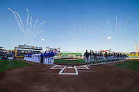 The Round Rock Express and the Omaha Storm Chasers lined up before the Pacific Coast League baseball game on April 4, 2013 at the Dell Diamond in Round Rock, Texas. Round Rock defeated Omaha in their season opener 3-1. (Andrew Woolley/Four Seam Images).