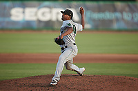 Augusta GreenJackets relief pitcher Miguel Pena (19) in action against the Charleston Boiled Peanuts at Joseph P. Riley, Jr. Park on June 26, 2021 in Charleston, South Carolina. (Brian Westerholt/Four Seam Images)