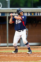 Ryan Cooper #17 (Elon) of the High Point-Thomasville HiToms at bat against the Wilson Tobs at Finch Field on June 17, 2013 in Thomasville, North Carolina.  The Tobs defeated the HiToms 3-2 in 11 innings.  Brian Westerholt/Four Seam Images