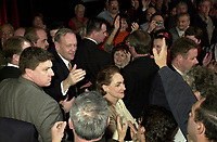 SHawinigan, November 28, 2000<br /> Reelected Prime Minister Jean Chretien shake hands with Liberal supporters after his speech on election night, in his Shawinigan riding.<br /> Photo : Pierre Roussel