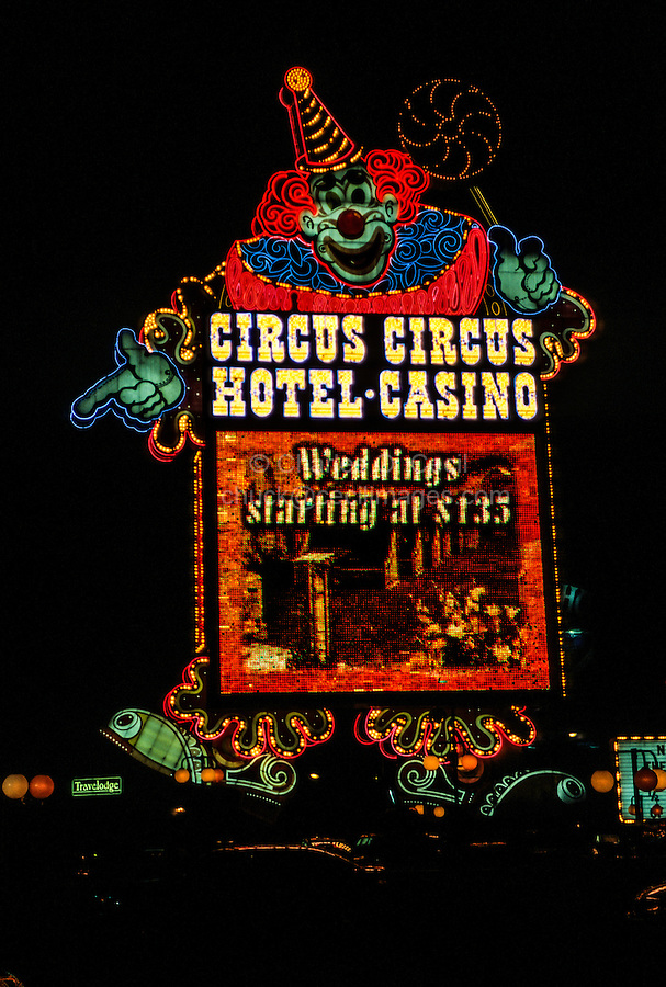 Las Vegas, Nevada.  Neon Advertising, Circus Circus Hotel and Casino, at Night.