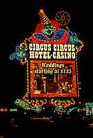 Las Vegas, Nevada.  Neon Advertising, Circus Circus Hotel and Casino, at Night.