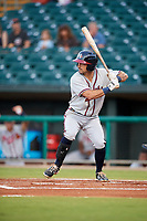 Mississippi Braves right fielder Keith Curcio (14) at bat during a game against the Montgomery Biscuits on April 26, 2017 at Montgomery Riverwalk Stadium in Montgomery, Alabama.  Montgomery defeated Mississippi 5-2.  (Mike Janes/Four Seam Images)