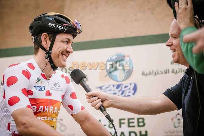 Heinrich Hausler (AUS) Bahrain-Mclaren at sign on before the start of Stage 2 of the Saudi Tour 2020 running 187km from Sadus Castle to Al Bujairi, Saudi Arabia. 5th February 2020. <br /> Picture: ASO/Pauline Ballet | Cyclefile<br /> All photos usage must carry mandatory copyright credit (© Cyclefile | ASO/Pauline Ballet)