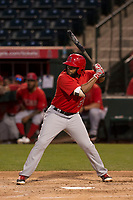 Los Angeles Angels shortstop Sherman Johnson (20) during a Minor League Spring Training game against the Milwaukee Brewers at Tempe Diablo Stadium on March 29, 2018 in Tempe, Arizona. (Zachary Lucy/Four Seam Images)