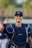 Tampa Tarpons catcher Antonio Gomez (5) before Game Two of the Low-A Southeast Championship Series against the Bradenton Marauders on September 22, 2021 at LECOM Park in Bradenton, Florida.  (Mike Janes/Four Seam Images)