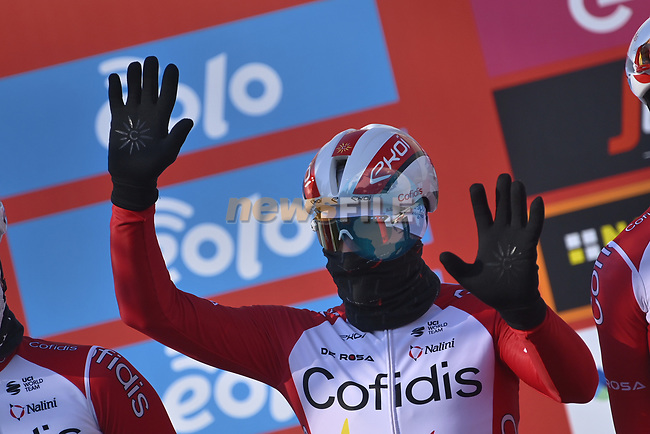 Elia Viviani Cofidis at sign on before the start of the 112th edition of Milan-San Remo 2021, running 299km from Milan to San Remo, Italy. 20th March 2021. <br /> Photo: LaPresse/Fabio Ferrari | Cyclefile<br /> <br /> All photos usage must carry mandatory copyright credit (© Cyclefile | LaPresse/Fabio Ferrari)