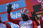 Elia Viviani Cofidis at sign on before the start of the 112th edition of Milan-San Remo 2021, running 299km from Milan to San Remo, Italy. 20th March 2021. <br /> Photo: LaPresse/Fabio Ferrari   Cyclefile<br /> <br /> All photos usage must carry mandatory copyright credit (© Cyclefile   LaPresse/Fabio Ferrari)