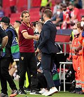 14th September 2021; Sevilla, Spain: UEFA Champions League football, Sevilla FC versus RB Salzburg; Manager Matthias Jaissle shakes hands at end of game with Julen Lopetegui manager of Sevilla