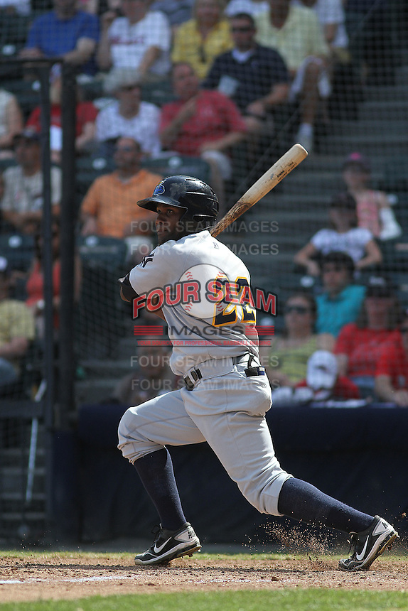 Trenton Thunder outfielder Abraham Almonte #22 at bat during a game against the Richmond Flying Squirrels at The Diamond on May 27, 2012 in Richmond, Virginia. Richmond defeated Trenton by the score of 5-2. (Robert Gurganus/Four Seam Images)