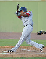 Infielder Xander Bogaerts (23) of the Salem Red Sox, a Boston Red Sox affiliate, in a game against the Potomac Nationals on June 8, 2012, at Pfitzner Stadium in Woodbridge, Virginia. Potomac won the first game of a doubleheader, 5-4. Bogaerts is the No. 2 Boston prospect, according to Baseball America. (Tom Priddy/Four Seam Images)