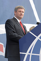 Ottawa (ON) CANADA, July 1st, 2007 -<br /> <br /> Stephen Harper, Prime Minister of canada speak on parliement Hill during<br /> Canada day celebration in the national capital.<br /> photo : (c)  Michel Karpoff - Images Distribution