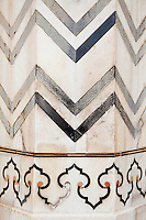 Agra, India. Geometric Design on a Column of the Taj Mahal Mausoleum, showing loss of a small piece of pietra dura stonework.