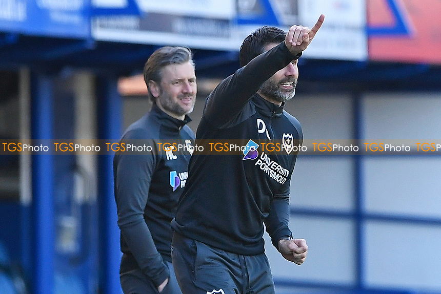 Portsmouth Manager Danny Cowley  gives instructions during Portsmouth vs Rochdale, Sky Bet EFL League 1 Football at Fratton Park on 2nd April 2021