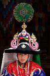 "Costumed dancer at the Paro ""Tsechu"" or annual religious Bhutanese festival, Paro, Bhutan"