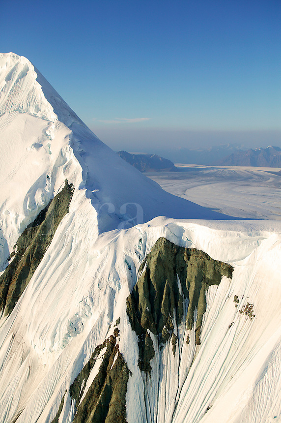 The a piedmont glacier (Nabesna) and mountains, snow and ice near Mount Blackburn (16,390 feet) in Wrangell Saint Elias National Park and Preserve, Alaska.