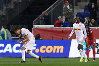 Harrison, NJ - Thursday March 01, 2018: Sean Davis celebrates scoring. The New York Red Bulls defeated C.D. Olimpia 2-0 (3-1 on aggregate) during a 2018 CONCACAF Champions League Round of 16 match at Red Bull Arena.