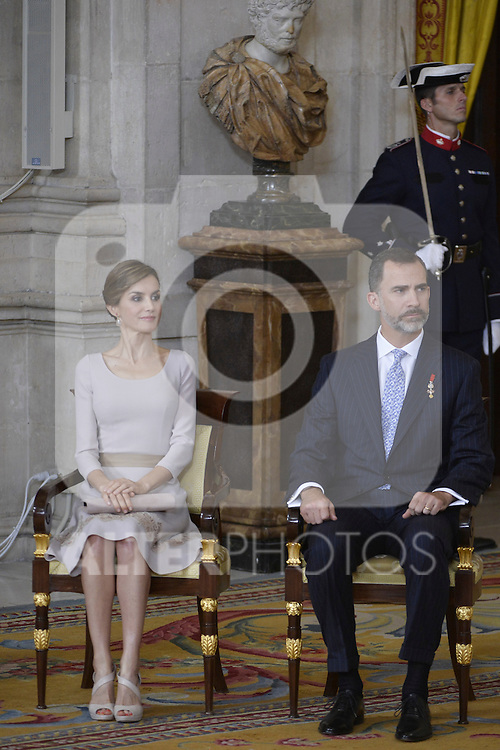 Spanish Royals King Felipe VI of Spain and Queen Letizia of Spain attend the Orden del Merito Civil decorations imposition ceremony at Royal Palace in Madrid, Spain. June 19, 2015. (Pool/ALTERPHOTOS)