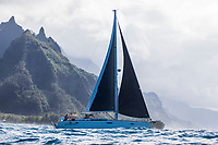 Sailboat Sarasvati cruises along the Na Pali Coast on Kaua'i.