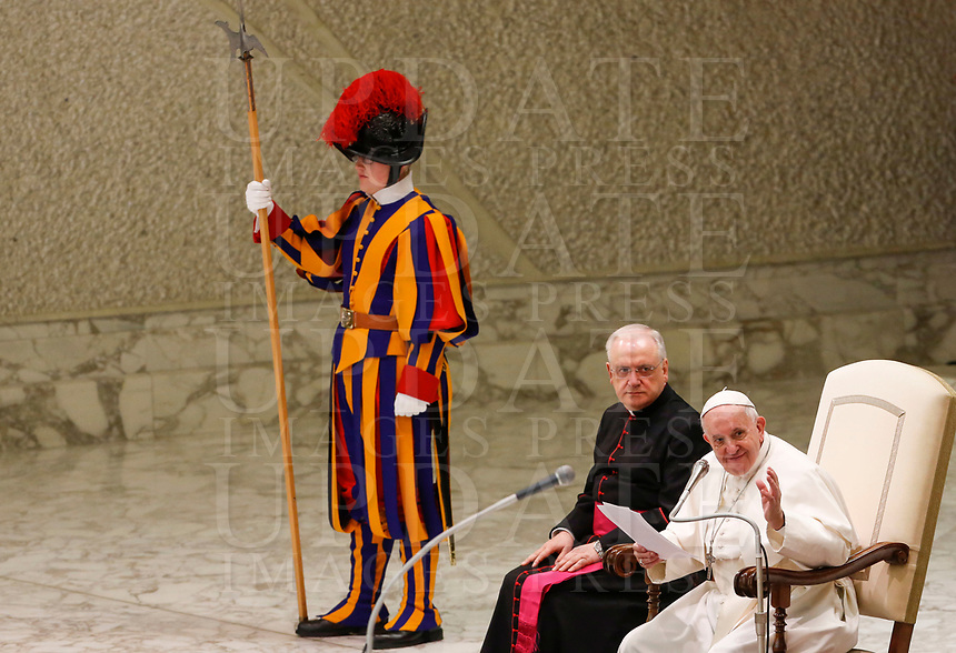Pope Francis attends his weekly general audience in the Paul VI hall at the Vatican, January 22, 2020.<br /> UPDATE IMAGES PRESS/Riccardo De Luca<br /> STRICTLY ONLY FOR EDITORIAL USE