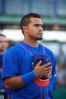 Midland RockHounds shortstop Franklin Barreto (10) during the national anthem before a game against the San Antonio Missions on April 21, 2016 at Nelson W. Wolff Municipal Stadium in San Antonio, Texas.  Midland defeated San Antonio 9-2.  (Mike Janes/Four Seam Images)