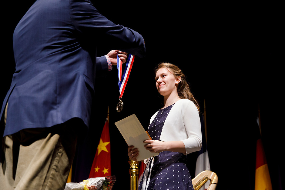 Marika Cecilia Riedl from Germany receives the Eleanor Fell Memorial Prize (eighth prize) during the awards ceremony of the 11th USA International Harp Competition at Indiana University in Bloomington, Indiana on Saturday, July 13, 2019. (Photo by James Brosher)