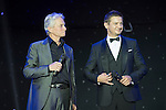 Michael Douglas (second from left or left) and Jeremy Renner (second from right or right) during the Opening Ceremony of the the World Celebrity Pro-Am 2016 Mission Hills China Golf Tournament on 20 October 2016, in Haikou, China. Photo by Weixiang Lim / Power Sport Images