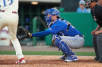 Dunedin Blue Jays catcher Danny Jansen (31) waits for a pitch during a game against the Clearwater Threshers on April 8, 2016 at Bright House Field in Clearwater, Florida.  Dunedin defeated Clearwater 8-3.  (Mike Janes/Four Seam Images)