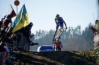first bump, first jump<br /> by Jakub Skala (CZE)<br /> <br /> Men U23 race<br /> <br /> 2015 UCI World Championships Cyclocross <br /> Tabor, Czech Republic